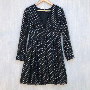 Jill Stuart clipped dots dress black silver 8